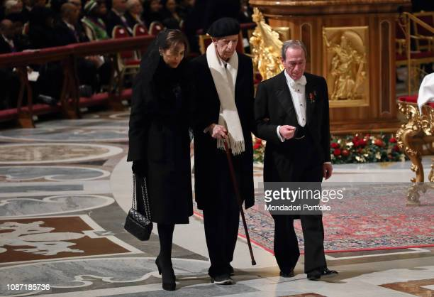 Pope Francis celebrates Christmas Eve Mass at St Peter's Basilica In this photo Sforza Marescotto Lillo Ruspoli with his wife Maria Pia Vatican City...