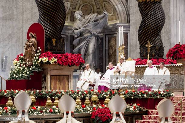 Pope Francis celebrates Epiphany Mass in St Peter's Basilica at The Vatican on January 06 2019 in Vatican City Vatican The Pope issued an appeal for...