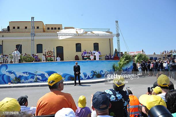 Pope Francis celebrates Holy Mass during his visit to the island of Lampedusa on July 8 2013 in Italy On his first official trip outside Rome Pope...