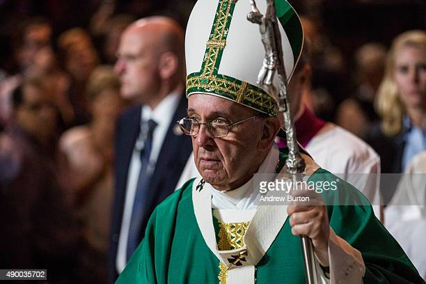 Pope Francis celebrates Mass at Madison Square Garden on September 25 2015 in New York City The pope is visiting New York City during a sixday tour...