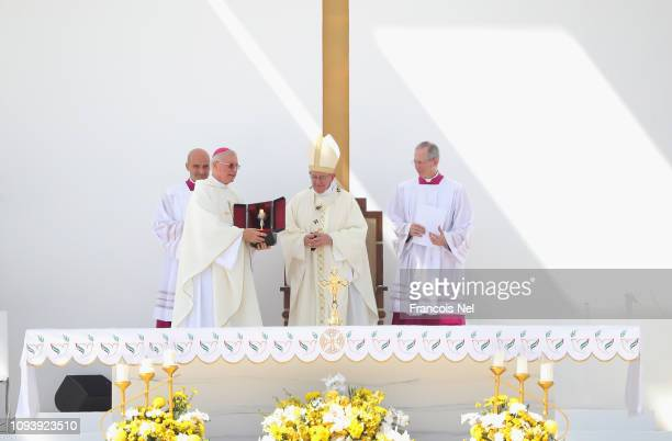 Pope Francis celebrates Mass at Zayed Sport City on February 5 2019 in Abu Dhabi United Arab Emirates Pope Francis is on a historic threeday visit to...