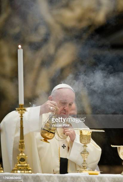 Pope Francis celebrates Mass for feast of Our Lady of Guadalupe at the Altar of the Chair in St Peter's Basilica on December 12, 2020 in Vatican...