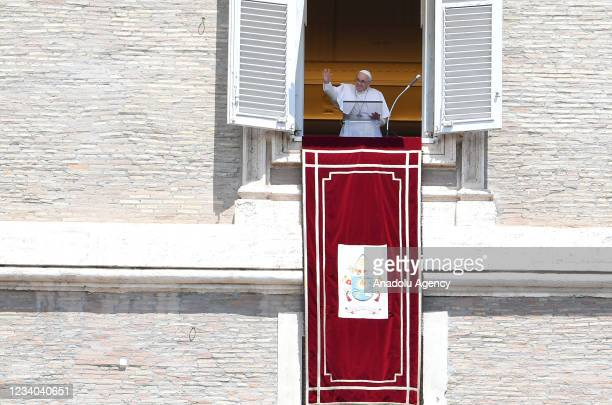 Pope Francis celebrates the Angelus from his studio window overlooking St. Peterâs Square, at the Vatican, July 18, 2021. The Pope resumes to address...