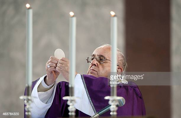 Pope Francis celebrates the Ash Wednesday service at the Santa Sabina Basilica on February 18 2015 in Rome Italy Ash Wednesday opens the liturgical...