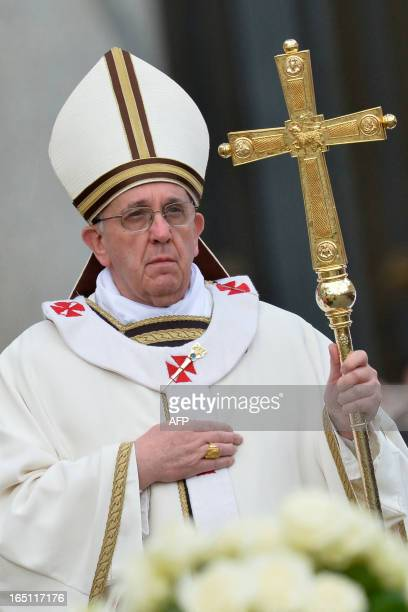Pope Francis celebrates the Easter mass on March 31, 2013 at the Vatican. Pope Francis prepared to lead his first Easter Sunday celebrations with...