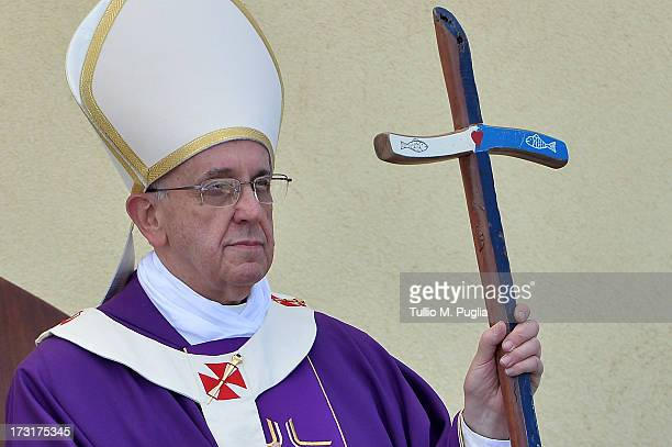 Pope Francis celebrates the Holy Mass during his visit to the island on July 8, 2013 in Lampedusa, Italy. On his first official trip outside Rome,...