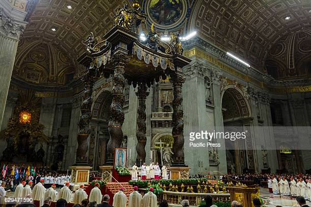 S BASILICA VATICAN CITY VATICAN Pope Francis celebrates the Holy Mass in the honour of Our Lady of Guadalupe Patroness of Latin America at Saint...
