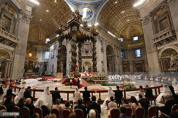 'Pope Francis celebrating the Feast of the Exaltation of the Cross and twenty Italian couples' weddings at Saint Peter's Basilica Vatican City 14th...