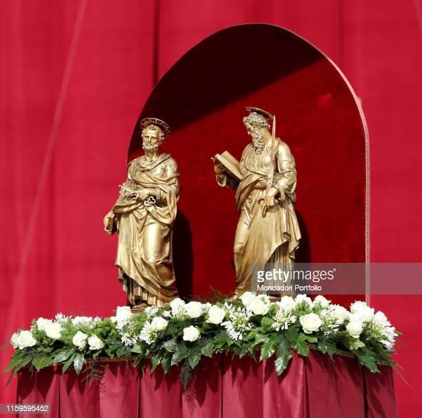 Pope Francis celebrating the Holy Mass and the blessing of the Pallium for the new Metropolitan Archbishops in Saint Peter's Square the day of the...