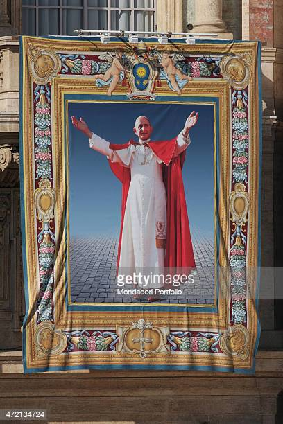 Pope Francis celebrating the Holy Mass for the beatification of Pope Paul VI closing the Extraordinary Synod about Family on Saint Peter's Square...