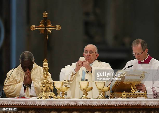Pope Francis celebrating the mass for the Solemnity of Blessed Virgin Mary, Mother of God and for the 48th World Day of Peace. Vatican City, 1st...