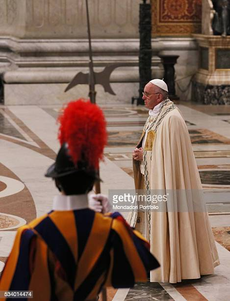 Pope Francis chairing the First Vespers and the Te Deum to give thanks for the year at Saint Peter's Basilica Vatican City 31st December 2015