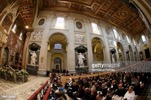Pope Francis chairing the Holy Mass for the Jubilee of the 800 years of the foundation of the Order of Preachers the Dominicans at the Basilica of...