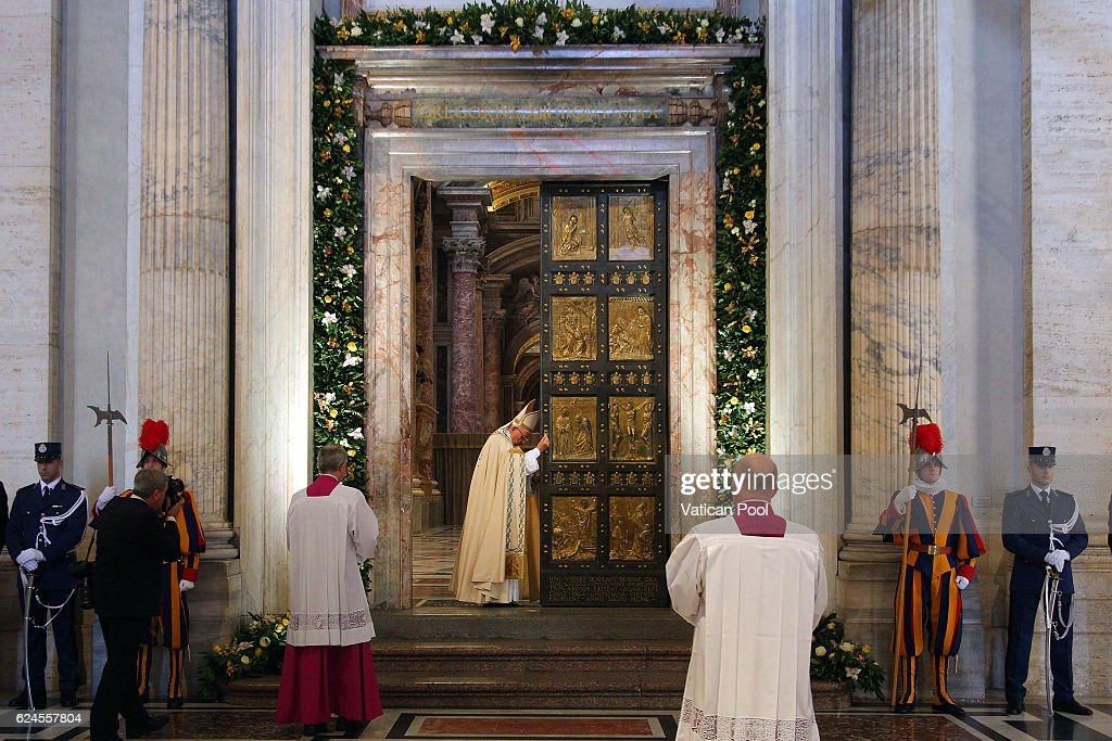 Pope Francis closes the Holy Door in St Peter's Basilica on November 20, 2016 in Vatican City, Vatican. The closing of the St Peter's Holy Door marks the end of the Jubilee Year of Mercy.