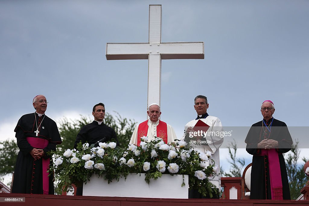 Pope Francis conducts a blessing of the city from the Loma de la Cruz, or the Hill of the Cross on September 21, 2015 in Holguin, Cuba. Pope Francis is spending his second day of a three-day trip in Holguin before moving on to the United States.