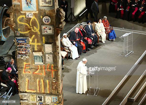Pope Francis conducts a multireligious service at the 9/11 Memorial and Museum on September 25 2015 in New York City Pope Francis is on a sixday trip...