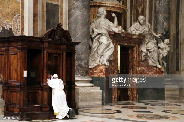 Pope Francis confesses during the penitential celebration in St Peter's Basilica on March 17 2017 in Vatican City Vatican Pope Francis met on Friday...