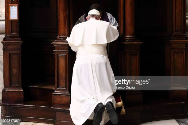 Pope Francis confesses during the Penitential Liturgy at St Peter's Basilica on March 9 2018 in Vatican City Vatican Pope Francis told the young...