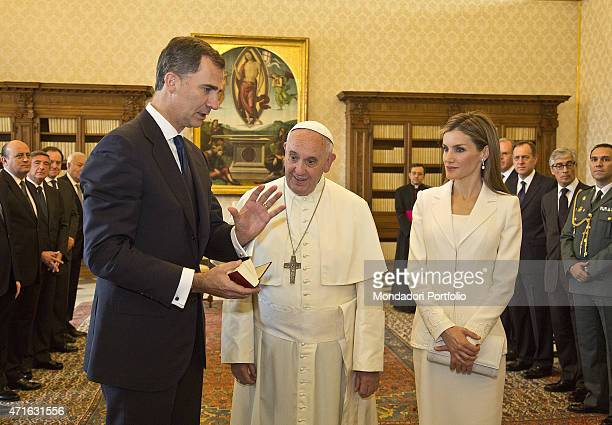 Pope Francis delivering a private audience to the King Felipe VI of Spain and the Queen Letizia Ortiz Vatican City 30th June 2014