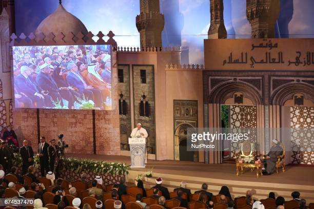 Pope Francis delivering a speech during a visit to the prestigious Sunni institution AlAzhar in Cairo on April 28 2017 Francis is in Egypt for a...