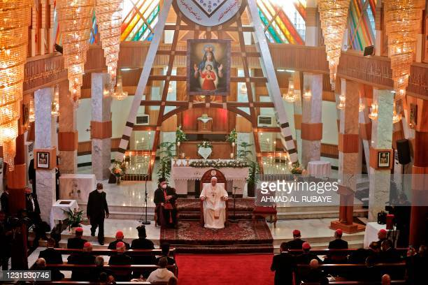 Pope Francis delivers a sermon at the Syriac Catholic Cathedral of Our Lady of Salvation in the capital Baghdad at the start of the first ever papal...