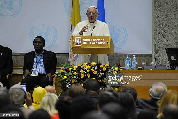 Pope Francis delivers a speech at the United Nations office in Nairobi on November 26 on the first leg of a landmark trip to Africa The 78yearold...