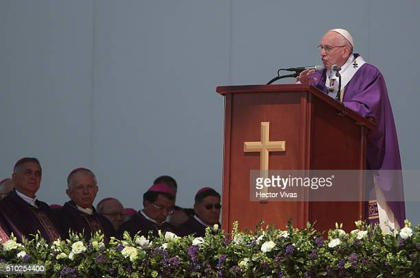 Pope Francis delivers a speech during a mass for the people at El Caracol on February 14, 2016 in Ecatepec, Mexico. Pope Francis is on a five days...