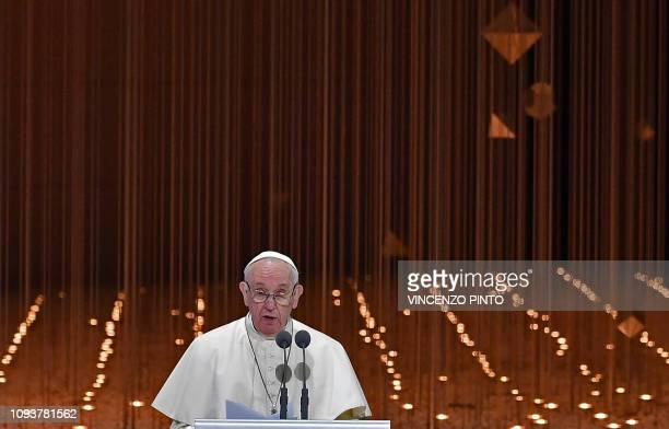Pope Francis delivers a speech during the Founders Memorial event in Abu Dhabi on February 4 2019 Pope Francis rejected hatred and violence in the...