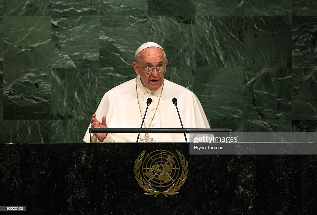 Pope Francis Addresses The United Nations General Assembly : Nieuwsfoto's