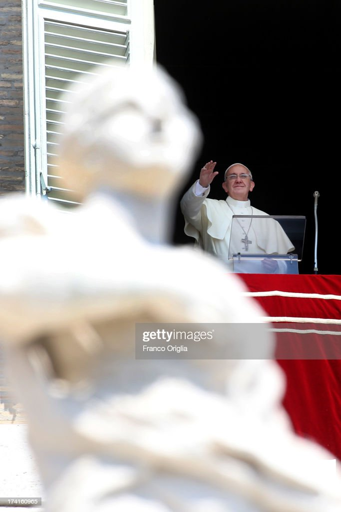 Pope Francis delivers his Angelus blessing to the pilgrims gathered in St Peter's Square on July 21, 2013 in Vatican City, Vatican. On the eve of his departure to Brazil for the World Youth Day celebrations in Rio de Janeiro, Pope Francis asked those present in St Peter's Square to accompany him in prayer for his first pastoral visit.