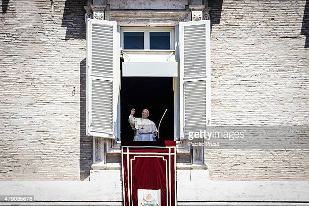 Pope Francis delivers his blessing from the window of his apartment during the Angelus prayer on the Solemnity of Saints Peter and Paul in Vatican...