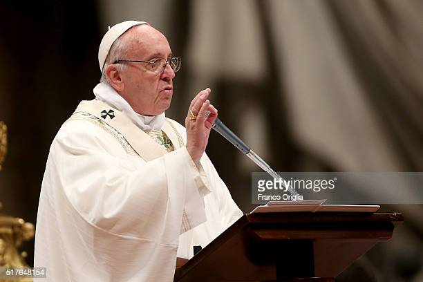 Pope Francis delivers his homily during the Easter vigil mass at St Peter's Basilica on March 26 2016 in Vatican City Vatican Pope Francis on Friday...
