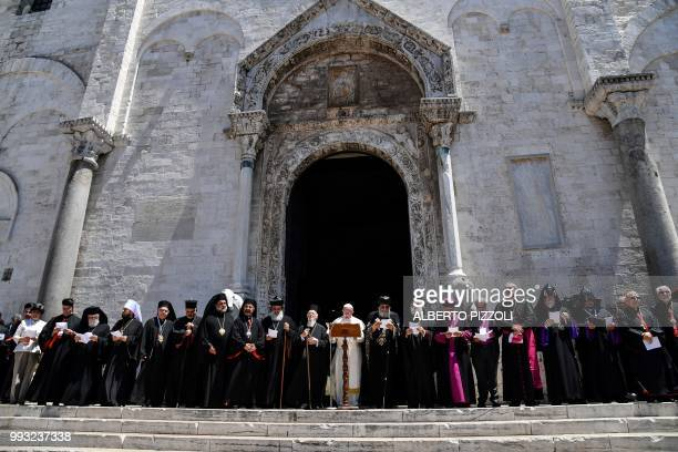 Pope Francis delivers his speech next to Ecumenic Patriarch of the Orthodox Church Bartolomeo I Egypt's Coptic Orthodox Pope Tawadros II and other...
