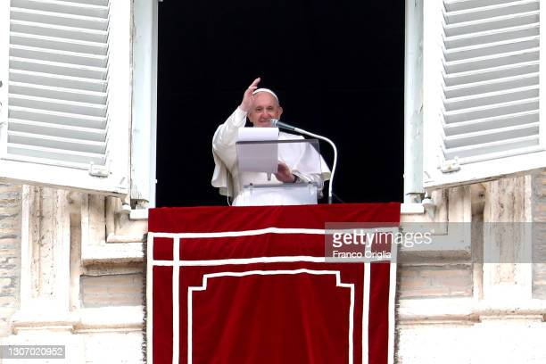 Pope Francis delivers his Sunday Angelus Blessing in St. Peter's Square at the end of Mass for the 500th anniversary of the Philippine Church on...