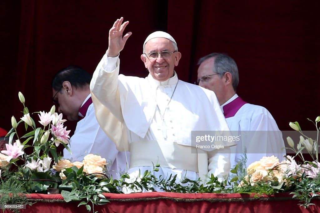 Pope Francis delivers his traditional 'Urbi et Orbi' Blessing - to the City of Rome, and to the World - from the central balcony overlooking St. Peter's Square on April 16, 2017 in Vatican City, Vatican. Pope Francis is due to visit Cairo on April 28 and April 29 at the invitation of Coptic Orthodox Pope Tawadros II.