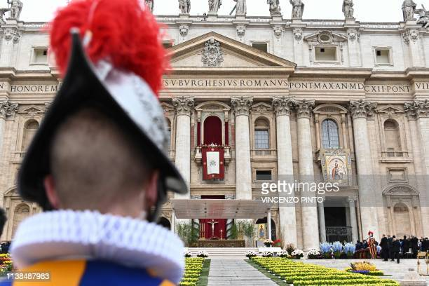 Pope Francis delivers the Urbi et Orbi blessing to the city and to the world from the balcony of St Peter's basilica on April 21 2019 after the...