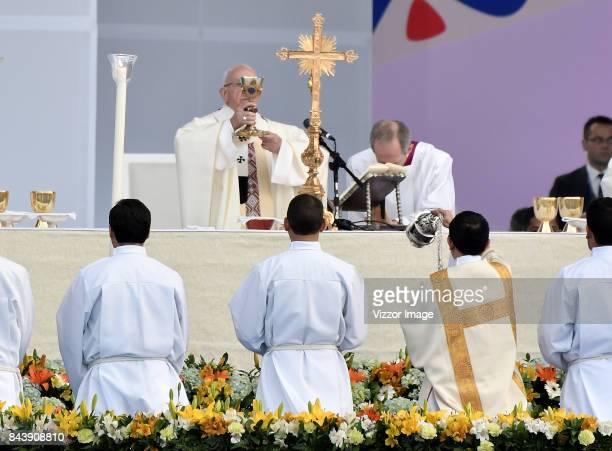 Pope Francis during a mass at Simon Bolivar park as part of his apostolic 5day visit to Colombia on September 07 2017 in Bogota Colombia