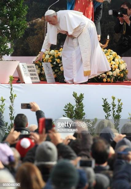 PIETRELCINA CAMPANIA ITALY Pope Francis during his visit in the birthplace of Padre Pio the famous Saint known for his miracles Pope Francis waves to...