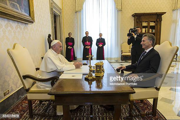 Pope Francis during the audience with the President of the Argentina Republic Mauricio Macri in the Private Library of the Apostolic Palace Vatican...