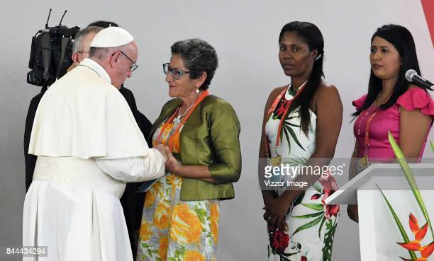 Pope Francis during the pray for the National Reconciliation at Las Malocas Park as part of his apostolic 5-day visit on September 08, 2017 in...
