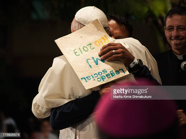 CONTENT] Pope Francis embraced by a recovering drug addict after his speech at St Francis of Assisi hospital A document entitled social legacy of...
