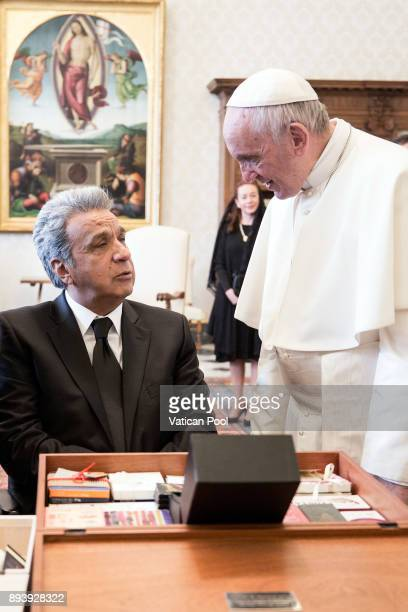 Pope Francis excanges gifts with President of Ecuador Lenin Moreno Garces during an audience at the Apostolic Palace on December 16 2017 in Vatican...