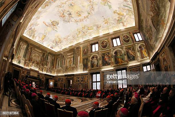 Pope Francis exchanges Christmas greetings with Cardinals of the Roman Curia in Clementine Hall on December 21 2015 in Vatican City Vatican The...