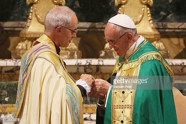 Pope Francis exchanges gifts with Archbishop of Canterbury Justin Welby during the Vespers Service at the St Gregory on the Caelian Hill on October 5...