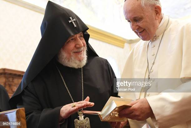 Pope Francis exchanges gifts with Patriarch Karekin II at the Apostolic Palace on April 5 2018 in Vatican City Vatican Following the meetings the...