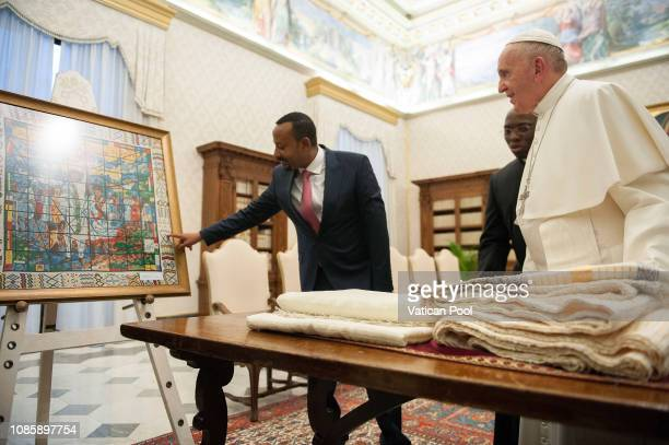 Pope Francis exchanges gifts with Prime Minister of Ethiopia Abiy Ahmed Ali during an audience at the Apostolic Palace on January 21 2019 in Vatican...