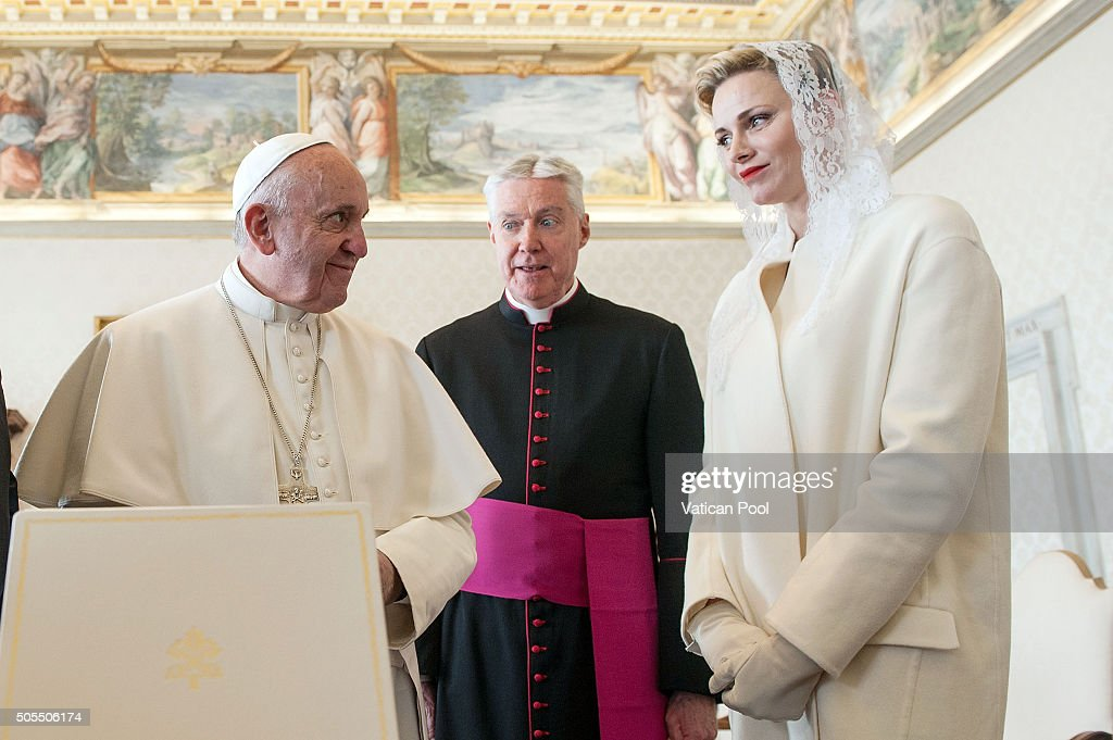 Pope Francis exchanges gifts with Princess Charlene of Monaco at the Apostolic Palace on January 18, 2016 in Vatican City, Vatican.