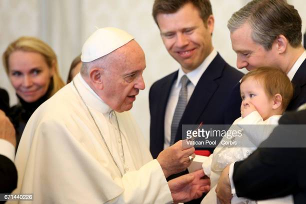 Pope Francis exchanges gifts with the delegation of Prince HansAdam of Liechtenstein during an audience at the Apostolic Palace on April 22 2017 in...
