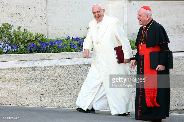 Pope Francis flanked by cardinal Franc Rode, arrives at the Paul VI Hall for the Extraordinary Consistory on the themes of Family on February 21,...