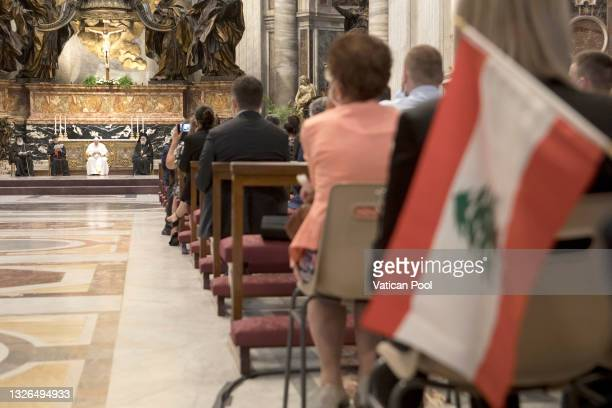 Pope Francis, flanked by senior leaders of the various Christian Churches and communities of Lebanon, leads a prayer and reflection for peace in...